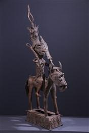 Art africain - Statues - Grand Cavalier en bronze Yoruba